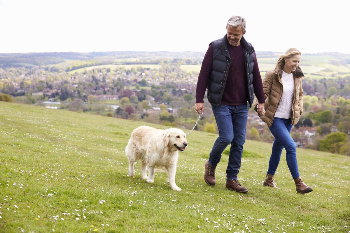 Couple walking dog outdoors in the fal