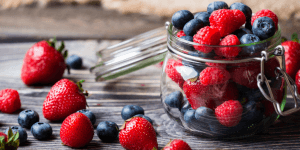 Mixed Berries in Jar on Table