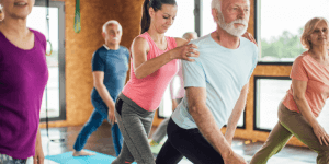 Healthy senior man stretching for posture