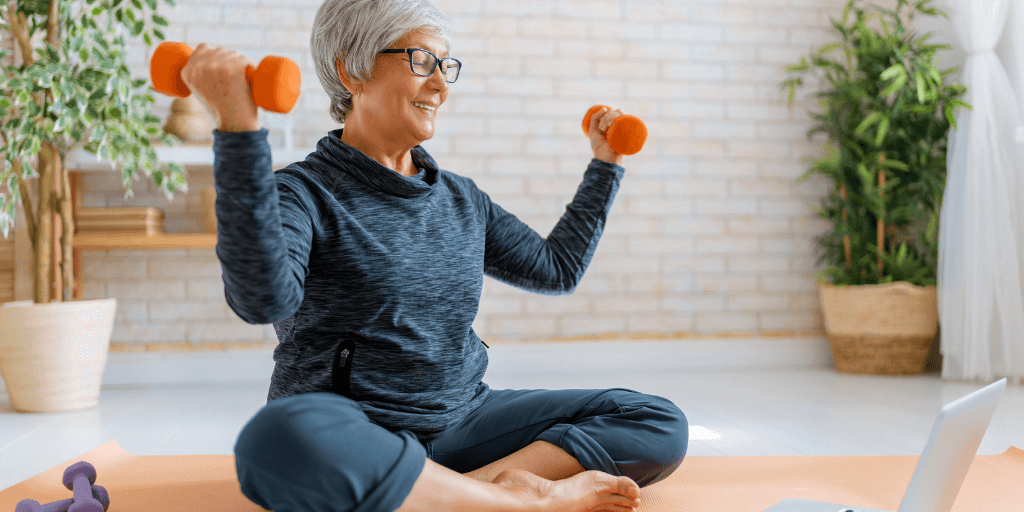Healthy Senior Woman Working Out At Home